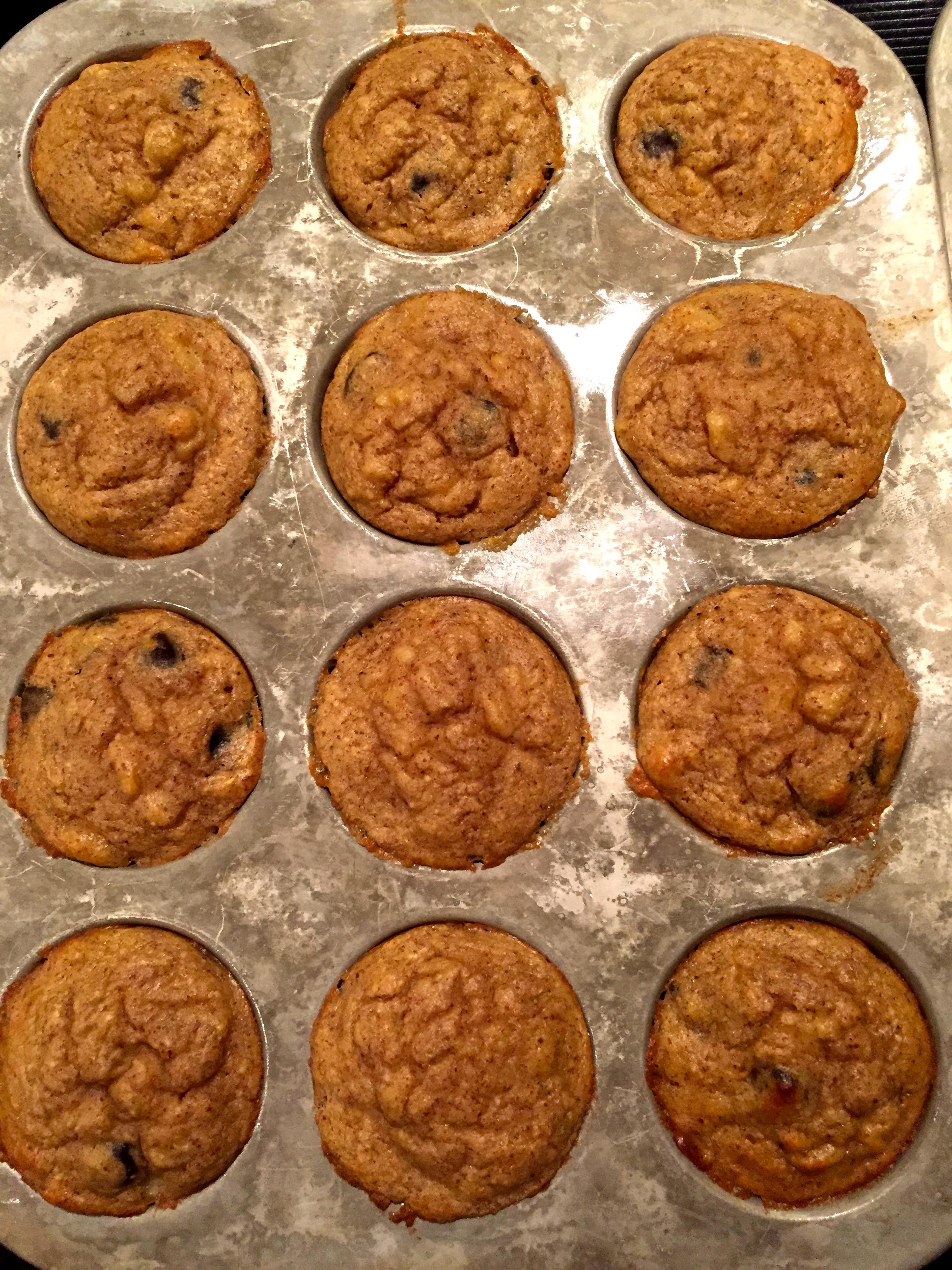 Banana chocolate chip muffins, grain -free and paleo
