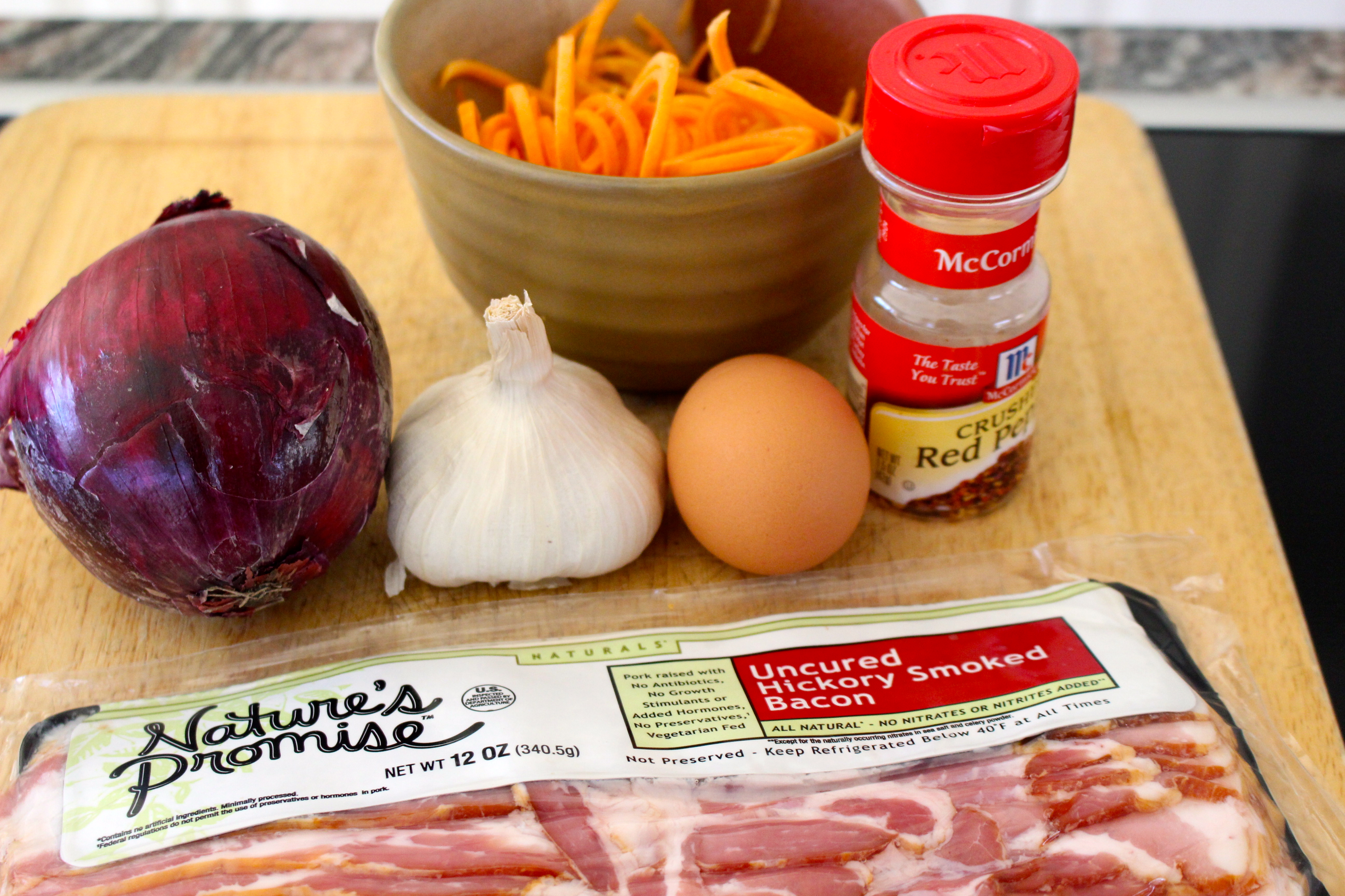 Ingredients for sweet potato noodles with bacon