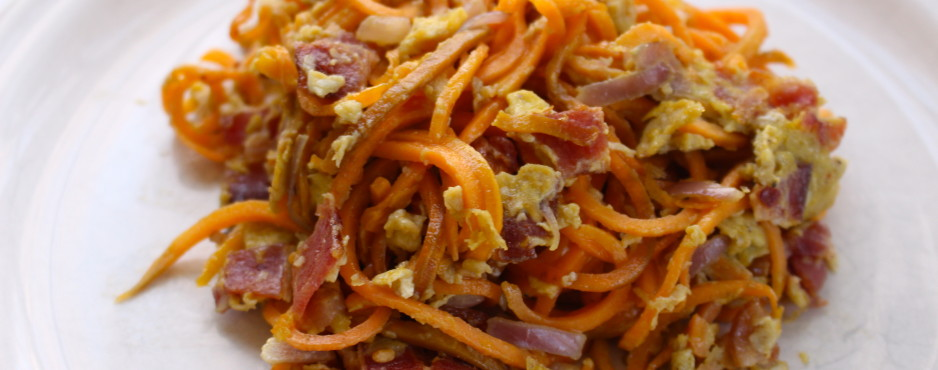 Sweet Potato noodles with bacon!