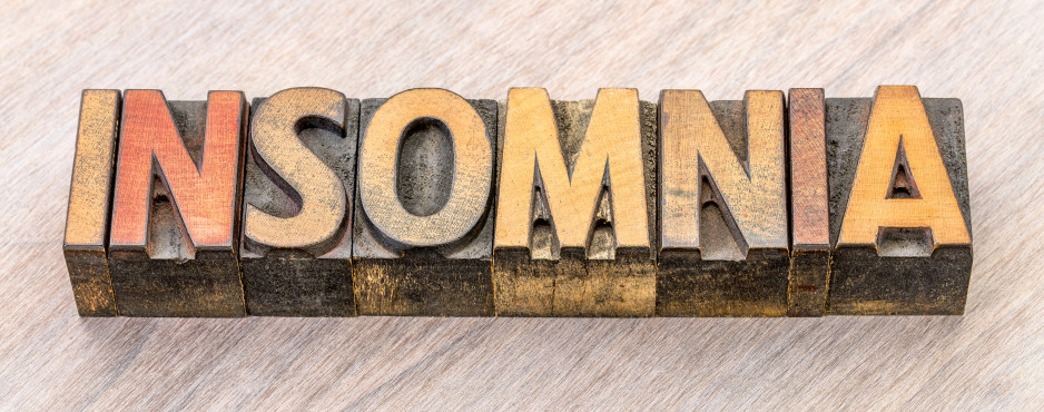 insomnia word abstract in wood type